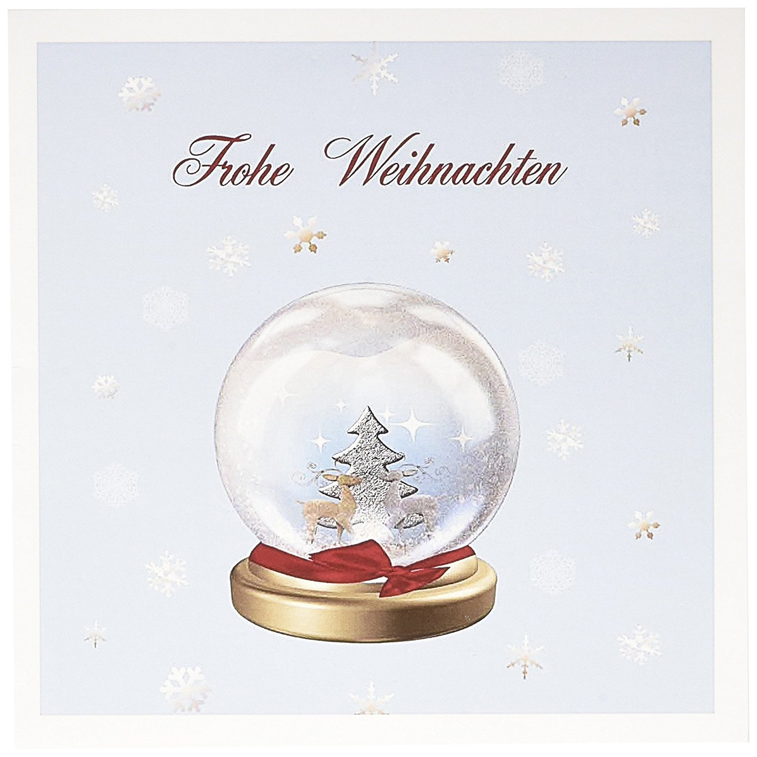 get quotations 3drose snow globe deer tree and snowflakes merry christmas in german greeting cards - Deer Christmas Cards