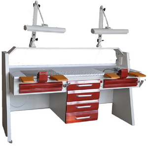 Double Dental lab Workstation for laboratory with CE rotatable lamp