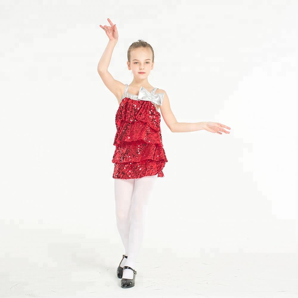 Newest fashion red hot bright color team teen  latin costumes for girls sequin dance tops