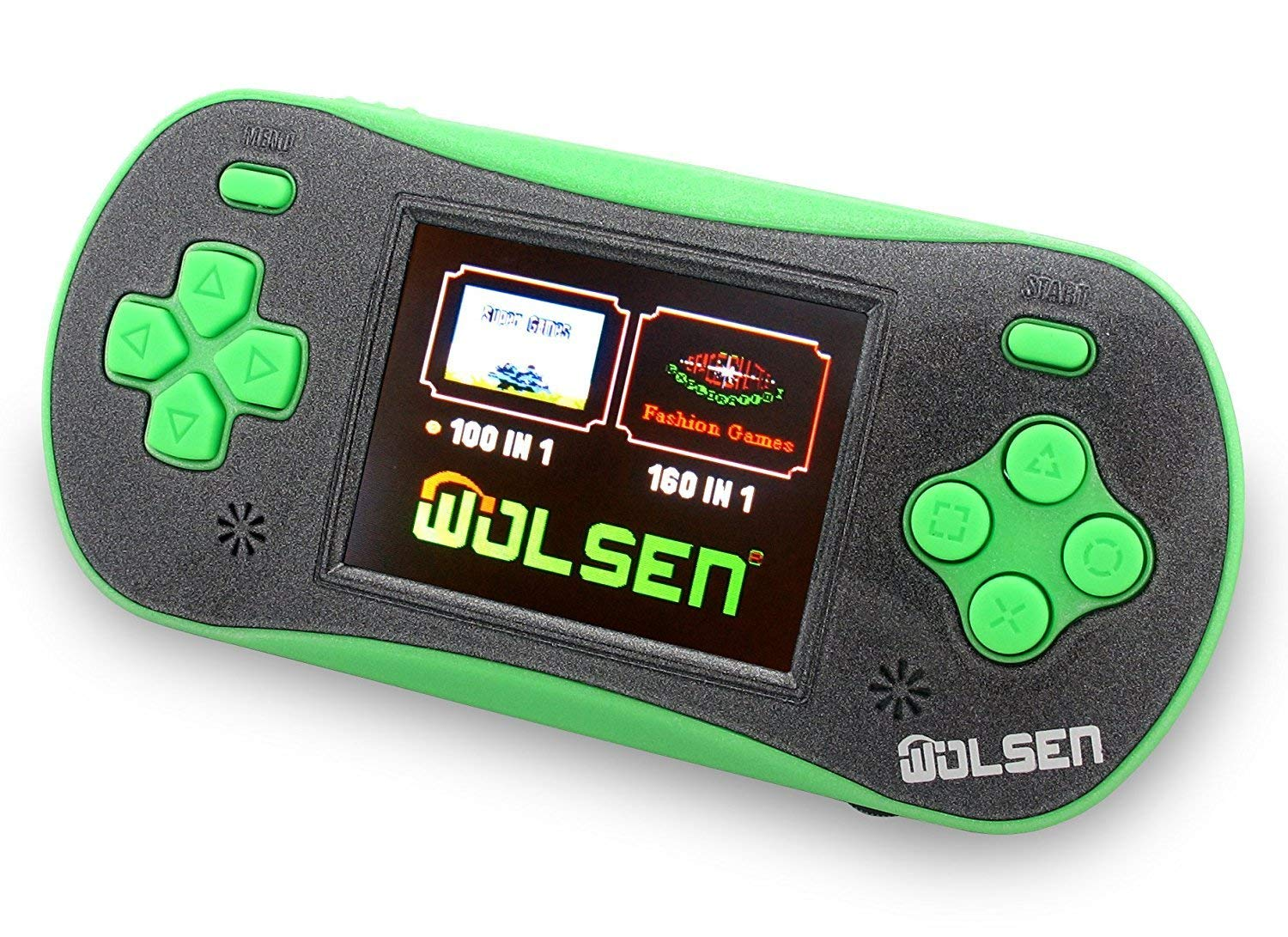 "WOLSEN 2.5"" LCD Portable Handheld Video Game Console Speaker (3 X AAA) 260 in 1 Games (Green)"