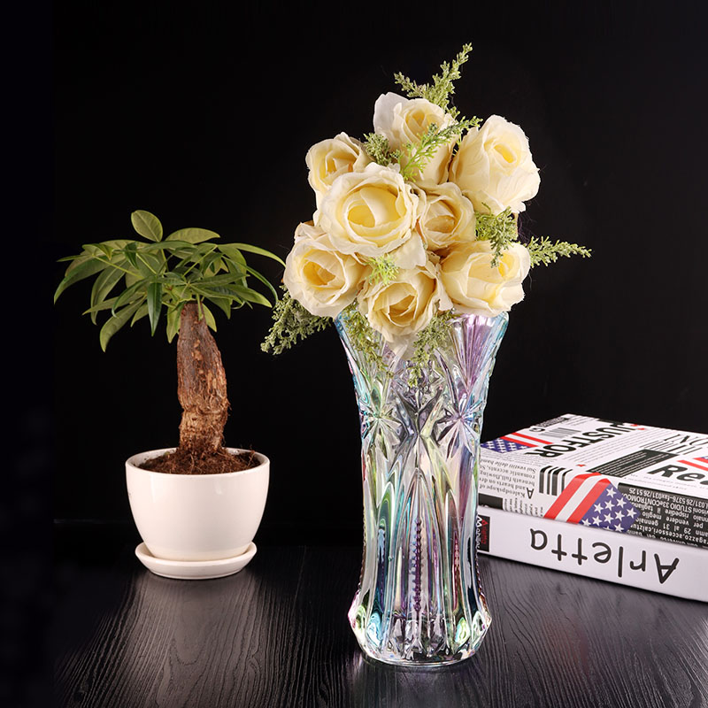 Fashionable colored glass flower vase crystal decorative flower glass vase