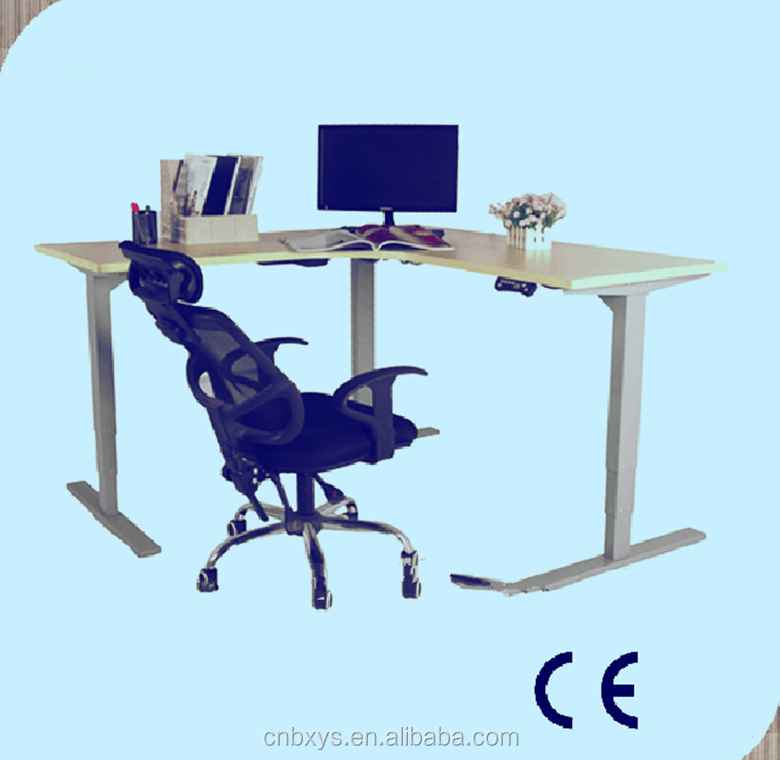 Electric height adjustment desk allows for easy movement from sitting to standing.