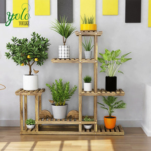 5 - Layer Combination Outdoor Balcony wooden bamboo Plant Display Stand With Anti - Corrosion Solid Wood Flower Rack