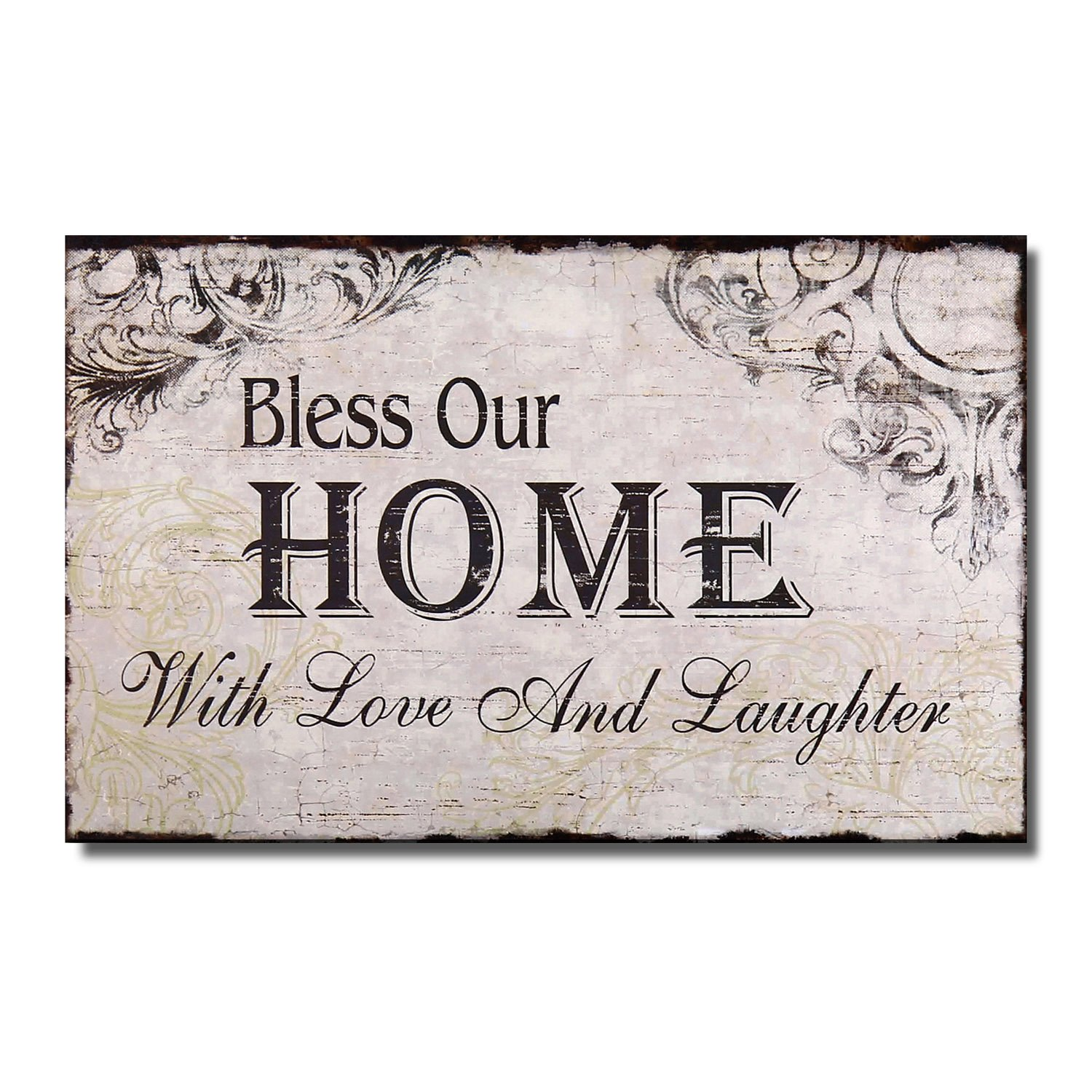 "Adeco [SP0105]Decorative Wood Wall Hanging Sign Plaque ""Bless Our Home with Love and Laughter"" Off White Black Home Decor"