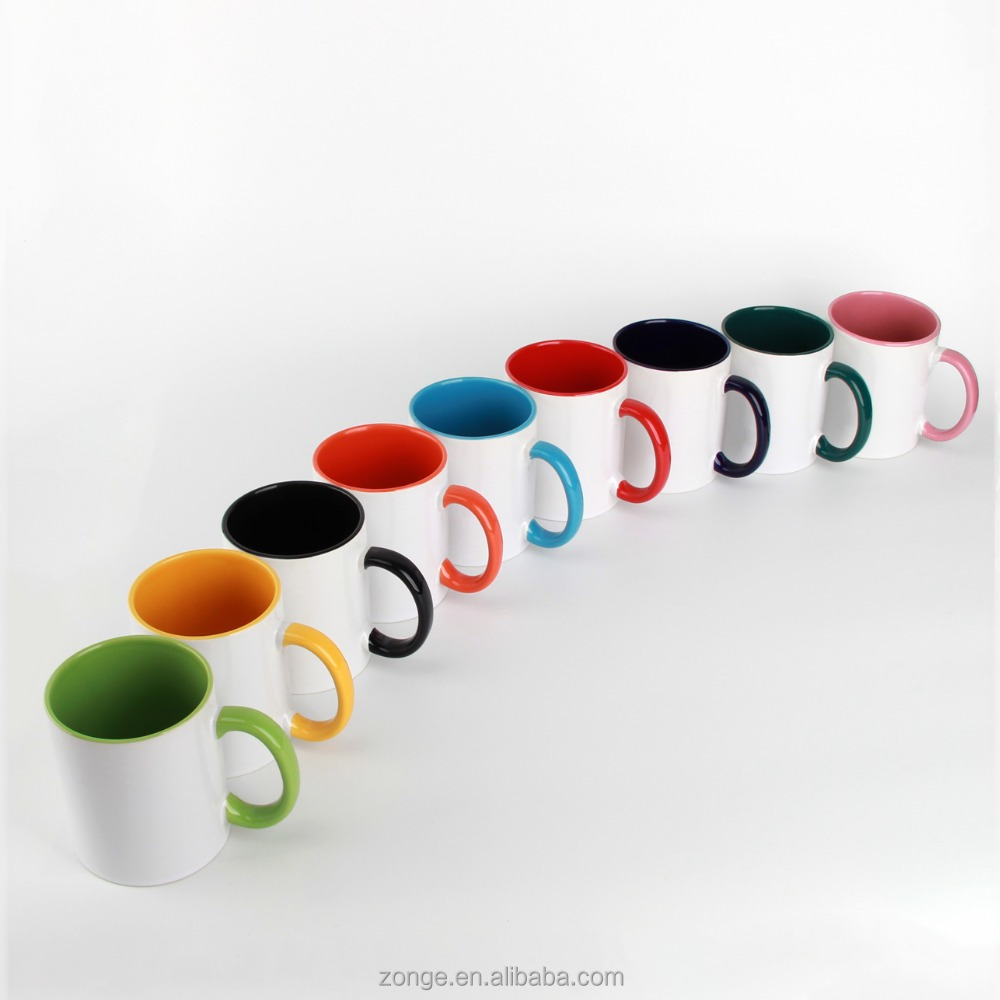 11oz handle & inside color cups mugs ceramic for sublimation