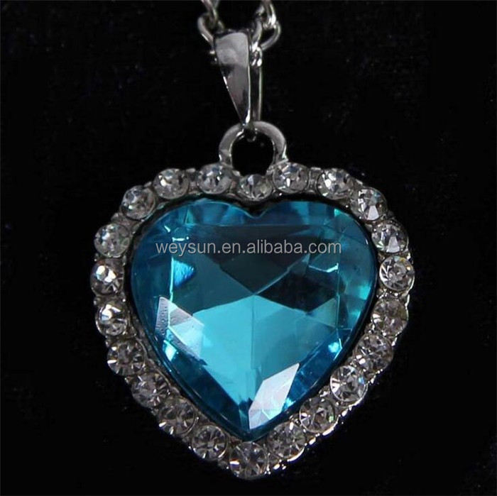 Classic Zircon Titanic Ocean Heart Necklace Sapphire Dark Blue Crystal Heart Pendant Statement Chain Necklace Woman Jewelry