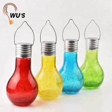 IP44 waterproof hanging bottle light lawn lamp crackle glass bulb led solar garden lights outdoor decorative for pathway