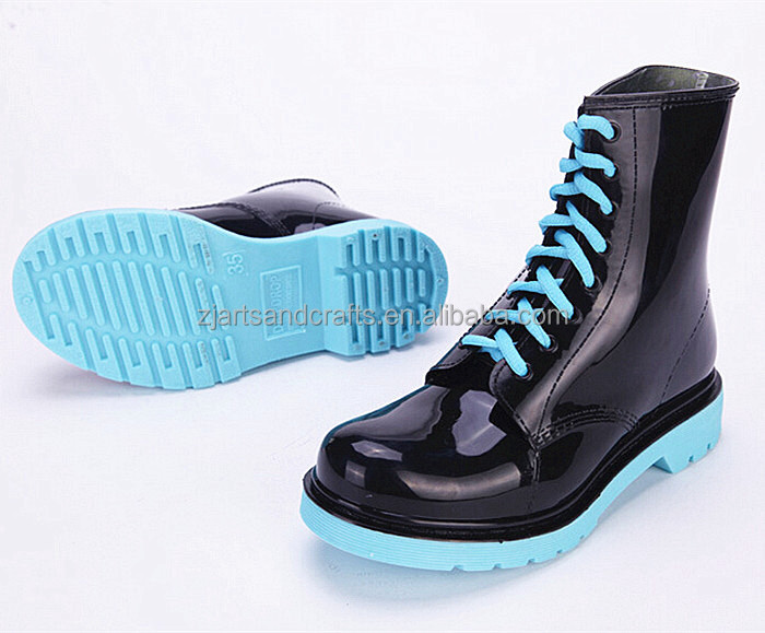 Light blue ankle lace-up injection waterproof rain shoe plastic martin boot pvc rain boot