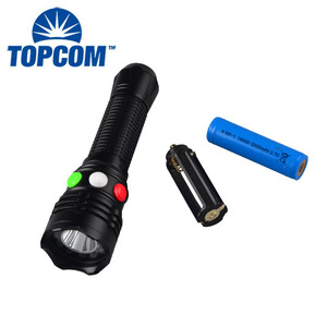 White Red Green Signal Torch LED Flashlight With Magnet Powered by 18650 Rechargeable Battery