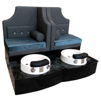 wood base spa beauty Pedicure chair double seats pedicure spa benches