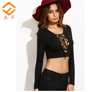 0abc5a039ff 2017 new style rib black bandage crop top latest sexy design tops for women