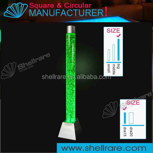 Decorative acrylic LED circular water bubble column for home and hotel decoration