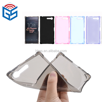 Shockproof full transparent tpu case for sony xperia xz premium g8141phone