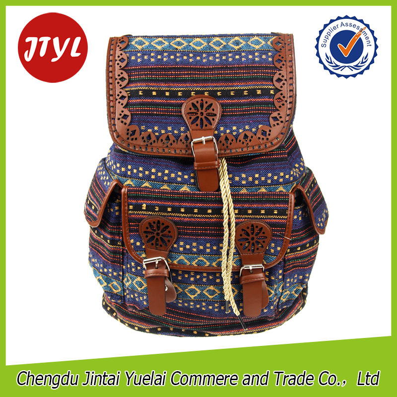 Factory Price Novelty Printed Jute Material Mochilas Camping for <strong>School</strong> Girls