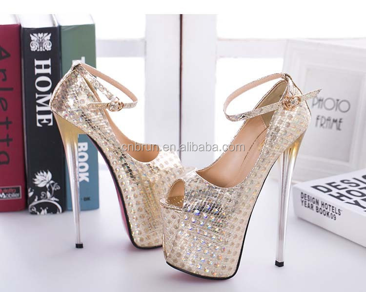 e3f5df1a535a Sexy Ultra-high 20cm Heel Gold High-heeled Wedding Shoes - Buy Sexy ...