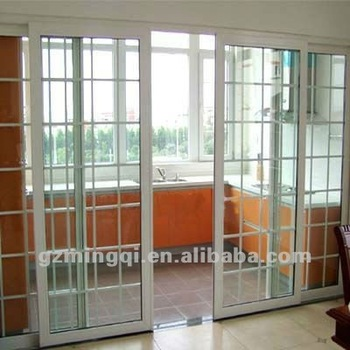 Pvc upvc door with grill design buy door grill design for Upvc french doors india