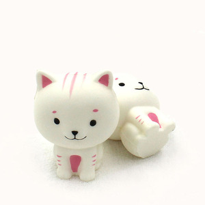Excellent quality white cat squishy slow rising animals rubber toys