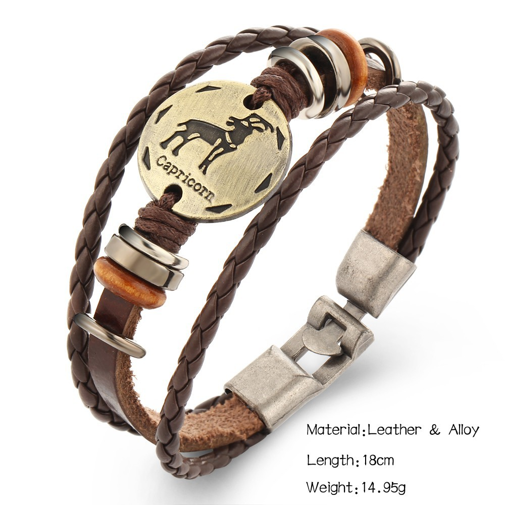 AB177 Wholesale Retro multi layered bronze punk lovers Woven Leather Bracelet