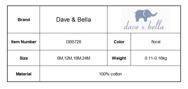 DB5728 dave bella autumn new born baby cotton romper infant clothes girls purple cute floral romper baby 1 piece