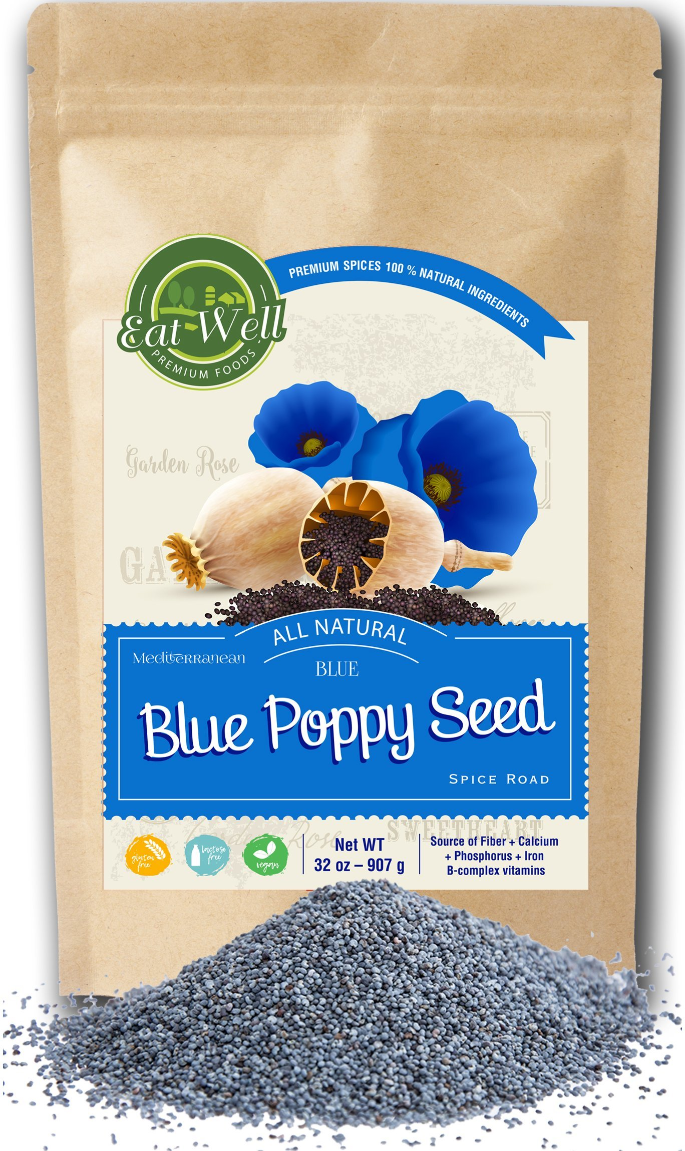 Whole Poppy Seeds | Raw Poppy Seeds | 32oz (2 lbs) Reseable Bag, Bulk | Cake & Pastry Baking | 100% Natural | Herbs & Organic Spices | by Eat Well Premium Foods