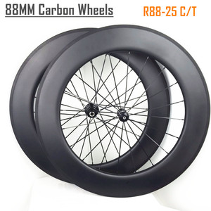 88mm UD matt clincher 25mm width road bike carbon wheels, 24 holes 700c clincher rims 88mm carbon wheelset