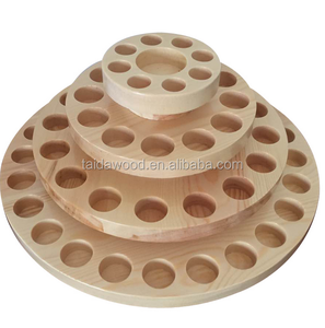 round multiple layer Custom Holes for Glass Bottle Essential Oil Wood Display Rack