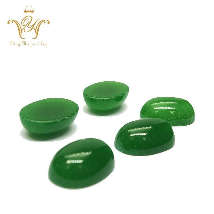 13x18mm oval flat back green malay jade cabochon gemstones