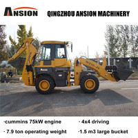 3 point backhoe attachment for sale 7.9ton 1.5CBM 0.3CBM 83kW AC Pilot joystick