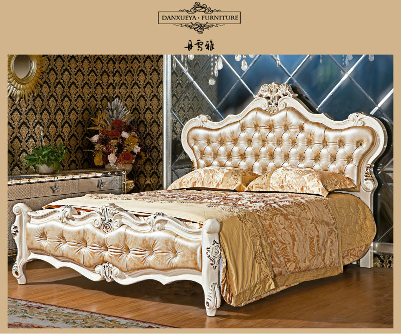 Italy Synthetic Leather Wood Carved Luxury Bed Room Furniture In