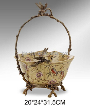 Hand Painted Porcelain Fruit Bowl With Brass Handle, Antique Brass  Decorative Dragonfly Basket