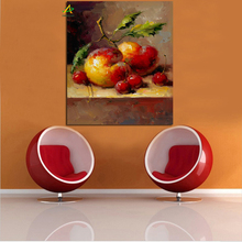 Wholesale impressionist canvas fruit painting plum and cherry oil painting for living room