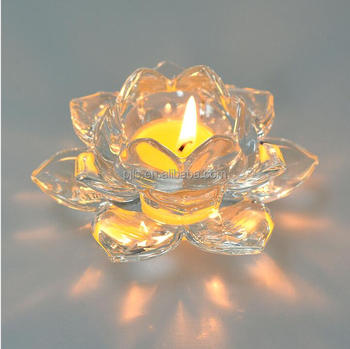 Lotus Flower tea light Clear Crystal Glass Candle holder