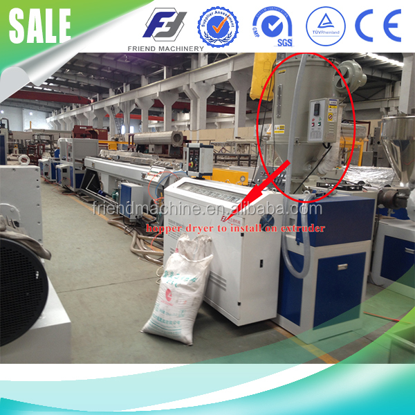 Plastic material hopper dryer with vacuum loader