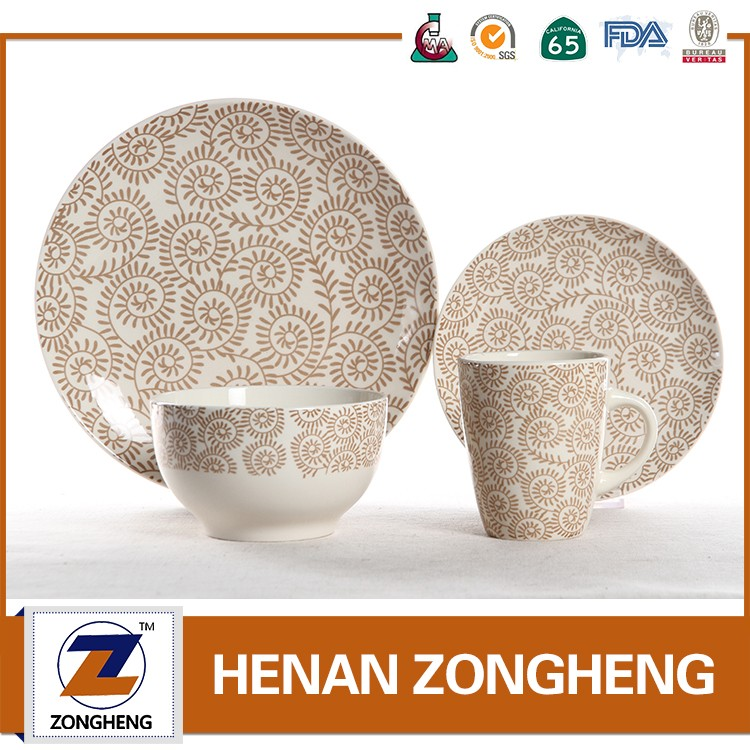Newest design round shape ceramic stoneware dinnerware with decal printing