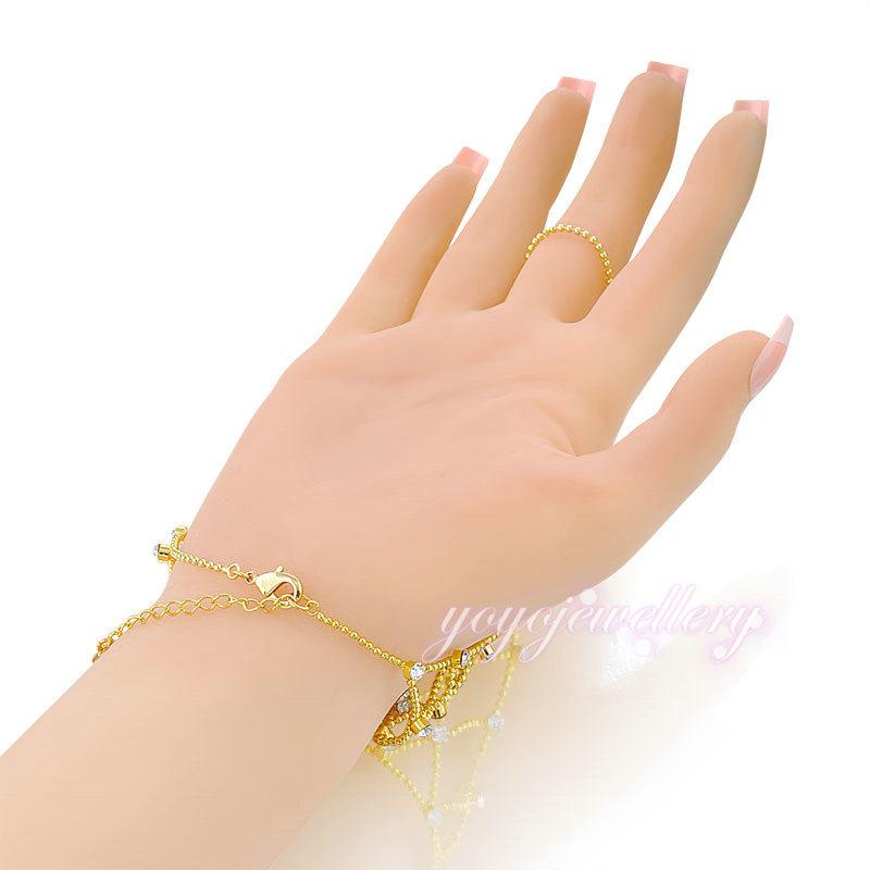 Popular saudi gold jewelry bracelet net design yellow gold crystal ...