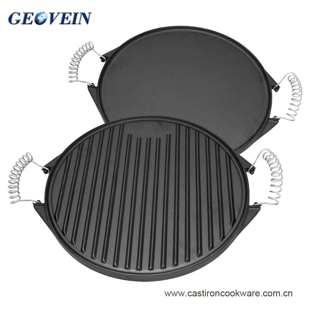 Round shape double use cast iron griddle pan with two spring handles