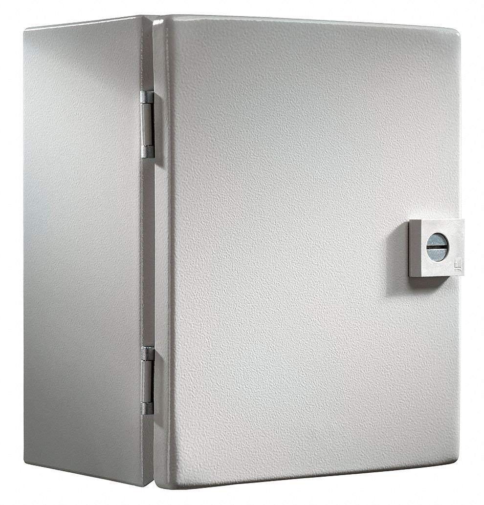 "14""H x 12""W x 6""D Metallic Enclosure, Light Gray, Knockouts: No, 1/4 Turn Latch Closure Method"