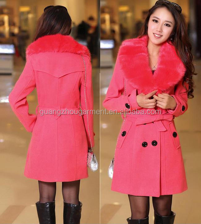 Hot European Style Women's Wool Faux Fur Trench Parka Double-Breasted Winter Coat Jacket cheap wholesale