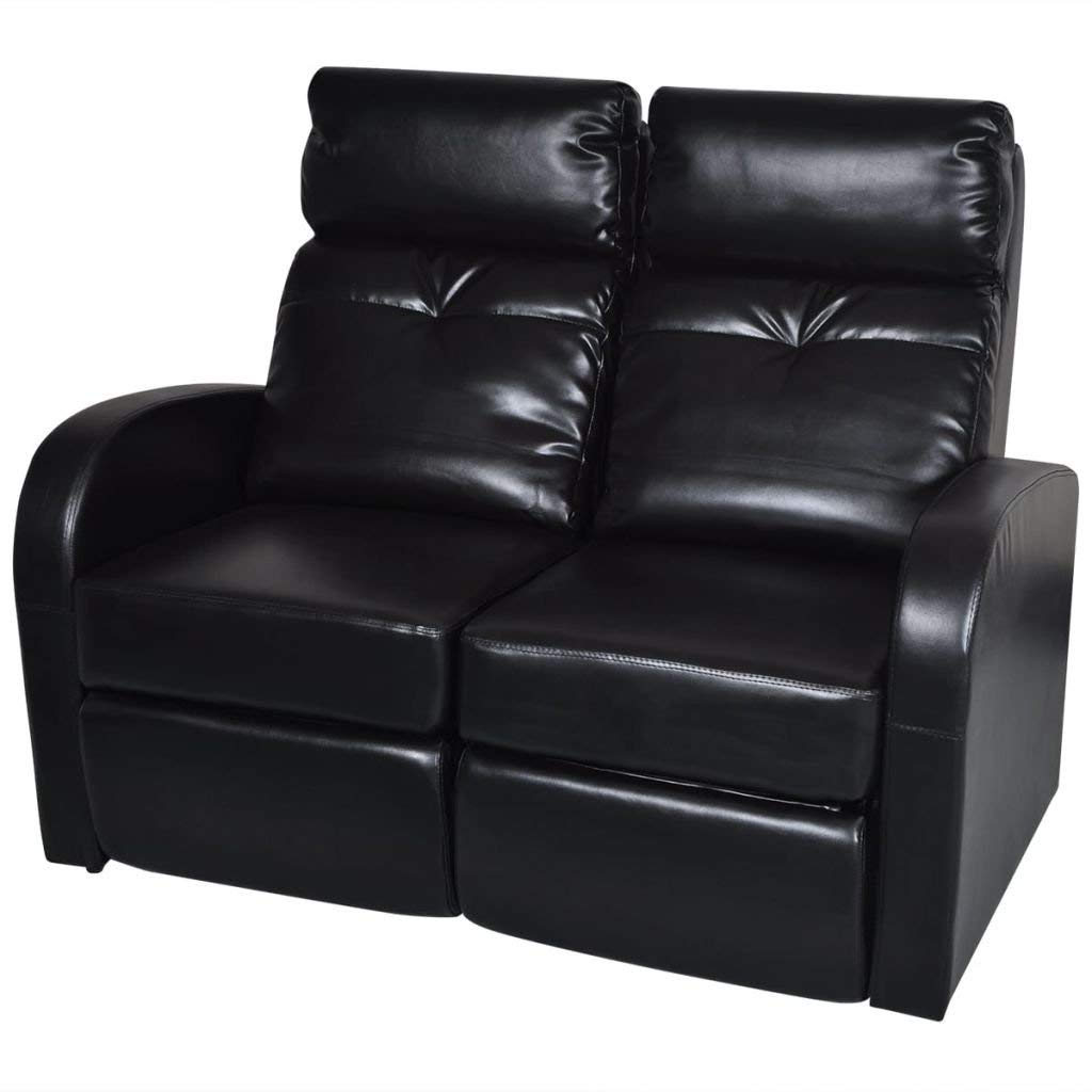 """2-seat Black Comfortable Reclining Sofa Artificial Leather Recliner Home Cinema Reclining Sofa Total size: 50.4"""" x 33.5"""" x 40.6"""" (W x D x H)"""