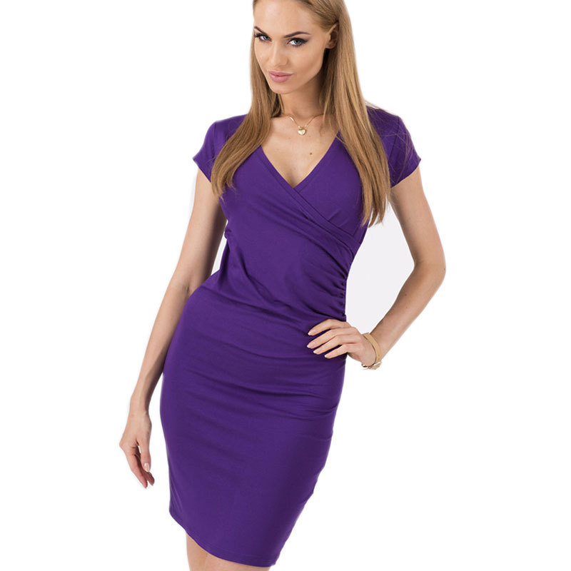 c05c1df17ae Get Quotations · European V-Neck Sexy Pencil Bodycon Dress Plus Size Slim  Tight Club Mini Dresses Ladies