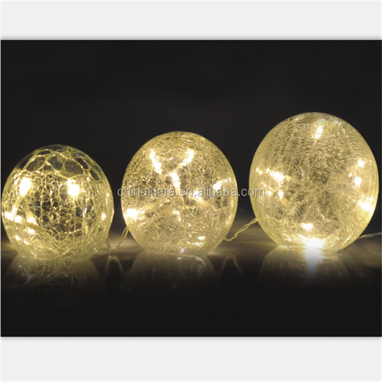 Factory Supply Home Party Christmas Decoration Led Crackle Glass Ball Lights