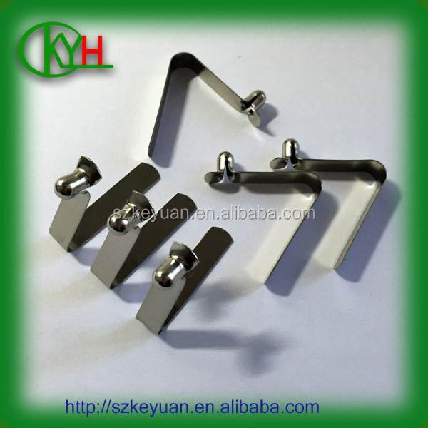 Custom nickel plated steel u shaped small flat spring clip