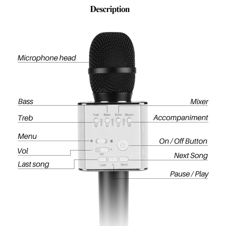 Q9 Portable Mini USB Speaker Wireless Karaoke Microphone For Family Ktv