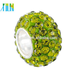 XULIN Bling Bling Big Hole Beads rhinestone Large Spacer Bead Charm fits European Style Bracelets beads
