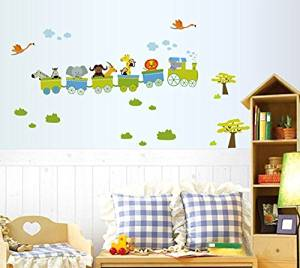 BestGrew® Cartoon Train with Small Animals Wall Decals, Cute Zebra Elephant Deer and Lion, Children's Room Nursery Removable Wall Stickers Murals