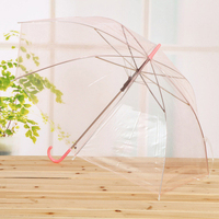 2018 popular professional environmental protection rainy day wholesale custom poe transparent umbrella eight bone bend handle st