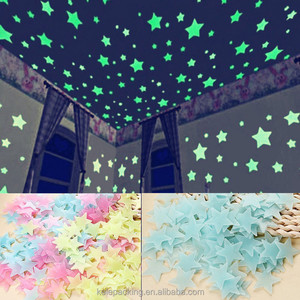 Hot Sell Colorful PP Plastic 3D Star Everlasting Glow In The Dark Sticker Wall Sticker