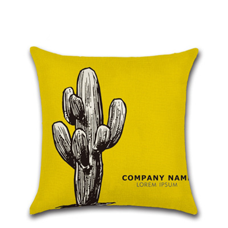 New Style Yellow Cactus Series Hug Pillowcase Chair Sofa Cushion Cover