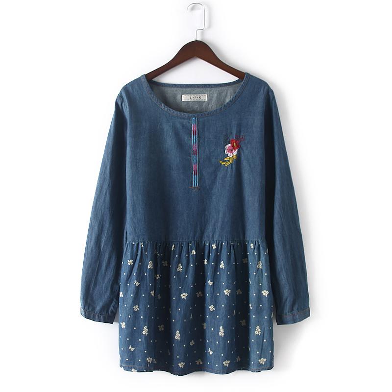 5b537280613c Get Quotations · 2015 spring autumn women denim dresses embroidery print  long-sleeve loose jeans dress plus size