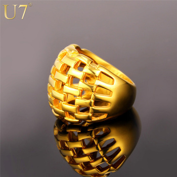 U7 18k Real Gold Plated Big Vintage Engagment Rings Hollow Women